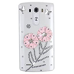 LG V10 Bling Case - Fairy Art Luxury 3D Sparkle Series Flowers Butterfly Crystal Design Back Cover with Soft Wallet Purse Red Cloth Pouch - Pink
