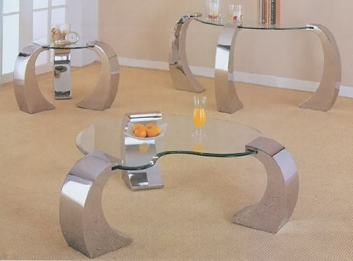 Chrome And Glass Coffee And End Table Set