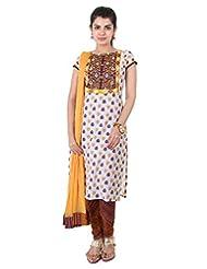 3Pce Suit - Yellow With Grapewine Cotton Kurta With Embroidered Yoke, Chudi And Dupatta