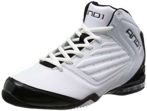 AND 1 Men's Master 2 Mid Basketball Shoe, White/Black/Silver, 11.5 M US