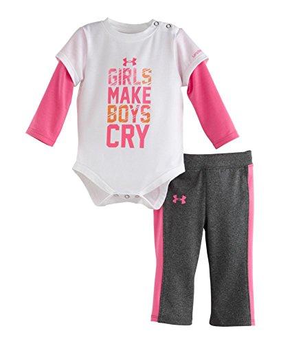 Under Armour Baby-Girls Newborn Girls Make Boys Cry Set, White, 6-9 Months front-710357