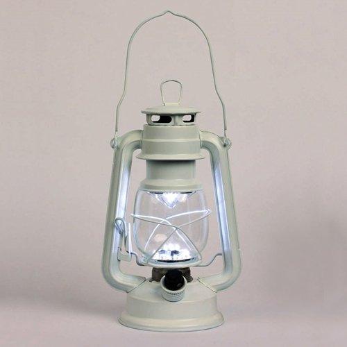 Hurricane Lantern Light, 11.5 In. White Metal, Battery Op. Dimmable Led