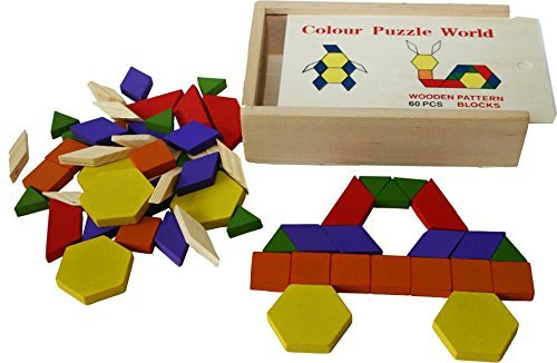 Toys of Wood Oxford Wooden Pattern Blocks And Puzzle 60 Pieces Tangram Puzzles