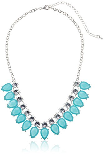 "Light Blue Tear Drop Cabochon And Crystal Statement In Silver Tone Necklace, 19""+3"" Extender"