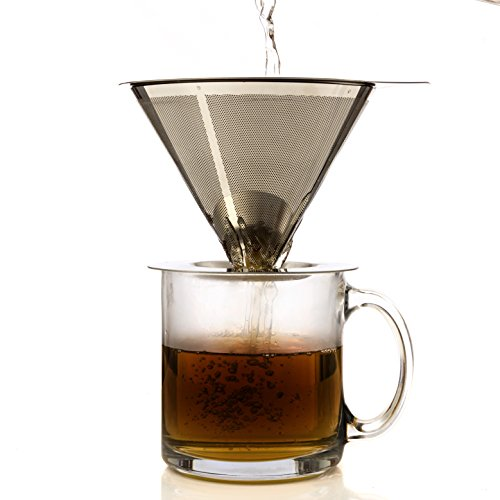 One Cup Coffee Maker by HouseBasics, Pour Over Coffee Dripper made with Stainless Steel Micro Mesh, Filterless, Reusable (Medelco Percolator Filter compare prices)