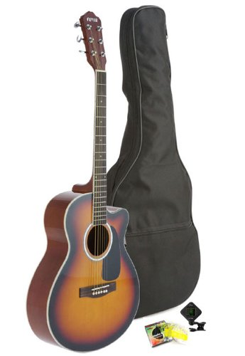 Fever 5015C-Sb Full Size Jumbo Body Steel String Acoustic Guitar, Sunburst