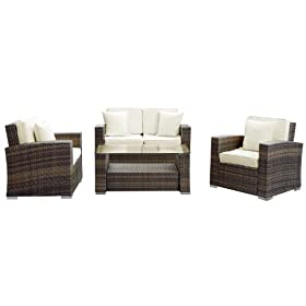 Fantastic Reviews Lexmod Carmel Outdoor Wicker Patio 4 Piece Sofa Set Gmtry Best Dining Table And Chair Ideas Images Gmtryco