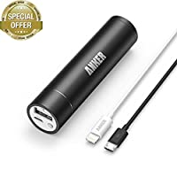 [Apple MFi Certified] Anker 2nd Gen Astro Mini 3200mAh Portable Charger with PowerIQ Technology (Black) + 3ft / 0.9m Lightning Cable for iPhone 6 Plus / 5, iPad 4 / Air / mini / mini 2 and iPod touch (White) by Anker