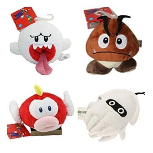 4pcs Super Mario Nintendo Doll Goomba Boo Ghost Pukupuku Cheepap Blooper Plush