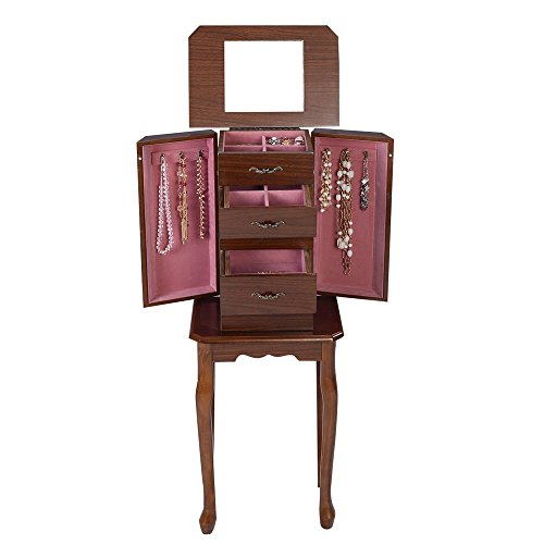 Jewelry Box Cabinet Armoire Storage Case Earring Necklace Mirror Chest Stand Organizer Durable Wood Box