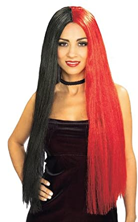 Rubie's Costume Long 2-Tone Gothic Black and Red Wig, Black/Red, One Size