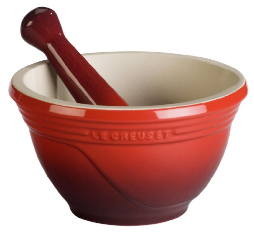 Le Creuset Stoneware 10-Ounce Mortar And Pestle, Cherry front-556619