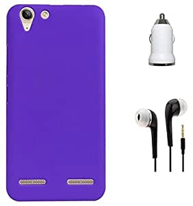 Tidel Purple Ultra Thin and Stylish Rubberized Plastic Back Cover For Lenovo Vibe K5 Plus With 3.5MM HANDSFREE EARPHONE & CAR CHARGER