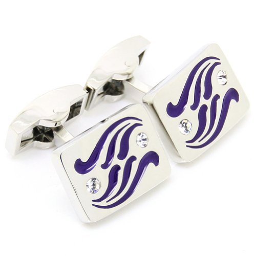 Beour White-Gold-Plated-Silver Purple Wave Crystal Copper Alloy Cufflinks