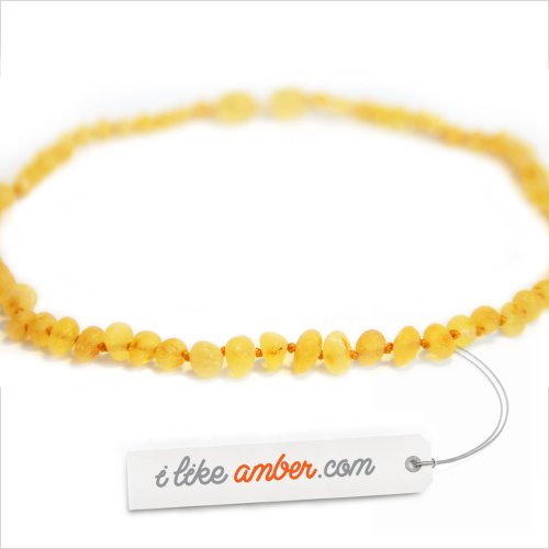 33cm Raw Genuine Baltic Amber Necklace - Child Baby size Butterscotch color unpolished Baroque Beads - Soothes and Calms Naturally Teething pain - iLikeAmber.com