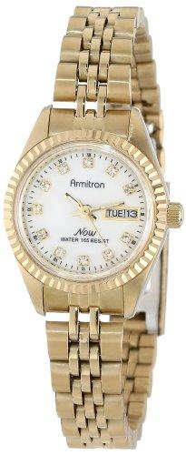 Armitron Women's 75-2474MOP NOW Swarovski Crystal Accented Gold-Tone Round Watch