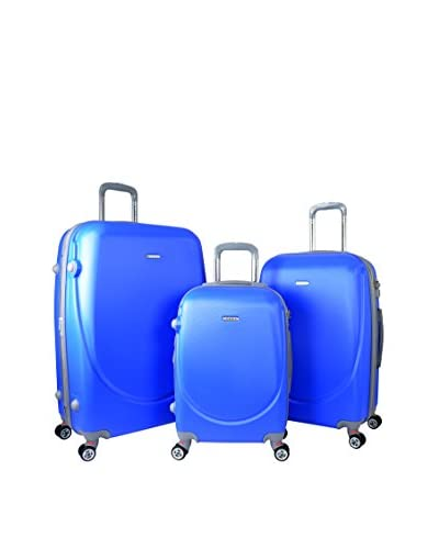 Travelers Club Barnet 2.0 3-Piece Round Shell Expandable Double-Spinner Luggage Set, Blue