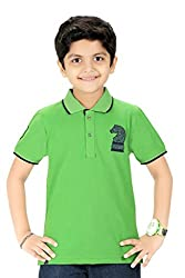 Triki Boys Plain Cotton Green T-Shirts