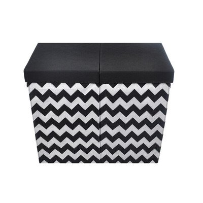 Modern Littles Bold Folding Double Laundry Basket, Black and White Chevron (Colorful Laundry Baskets compare prices)