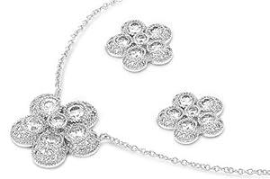 Sterling Silver CZ Five Petal Flower Plumeria Earring & Necklace Set