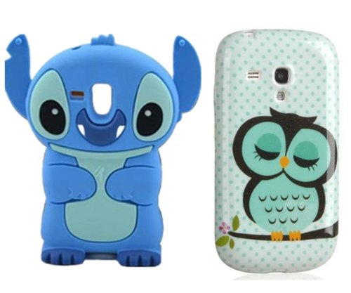 Vandot 2 In 1 Protective Case For Samsung Galaxy S3 Mini I8190 Tpu Silicone Case With Owl Owl Pattern In Light Green + 3D Stitch Silicone Case Cover Blue front-458939