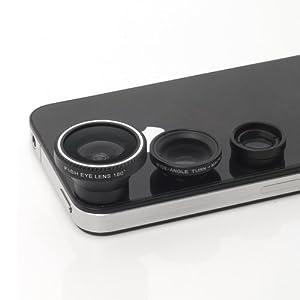 XCSOURCE® Kit photo objectif grand-angle + macro + fisheye pour iPhone 4S 4G 5 5S 5C 3GS Samsung GALAXY S2 I9100 S3 I9300 S4 I9500 Note2 I9220 Note3 N7100 HTC DC126