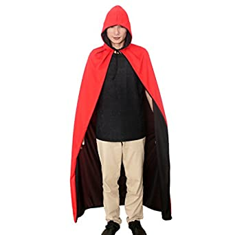 Halloween Hooded Cloak Cape Men's Dress Party Costume Red/Black Duplex