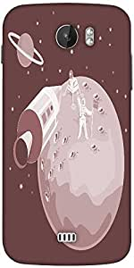 Snoogg Astronaut Landing On Moon Retro Designer Protective Back Case Cover For Micromax A110