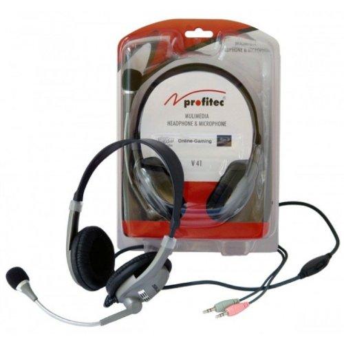 Multimedia Headset, Kopfhörer mit Mikrofon und LS-Regler, Stereo, ideal für skype, viop, etc. * V 41 von profitec®