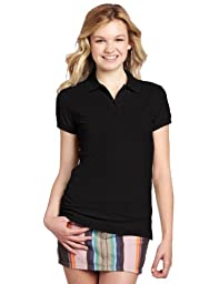 Dickies Girl Juniors Short Sleeve 2 Button Pique Polo,Black,Medium