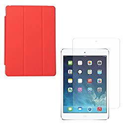 DMG Ultra Slim Magnetic Smart Shell Stand Cover Case for Apple iPad Air (Red) + Tempered Glass Screen Protector