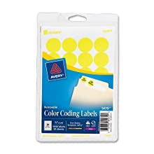 Avery Self-Adhesive Removable Labels, 0.75 Inch Diameter, Yellow Neon, 1008 per Pack (05470)