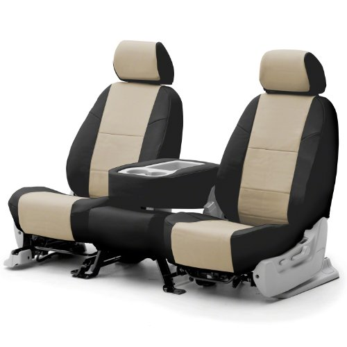 Coverking Custom Fit Front 50/50 Base Seat Cover For Select Mini Cooper Models - Premium Letherrette 2-Tone (Cashmere With Black Sides) front-1027190