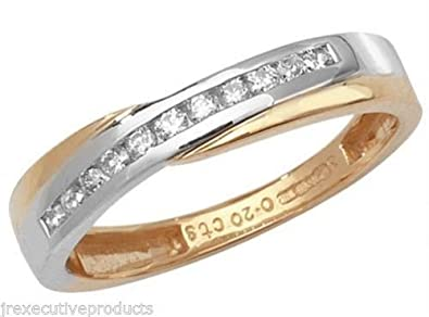 9ct 2 Colour Gold Diamond Cross Over Half Eternity Ring 0.20ctw size G - W