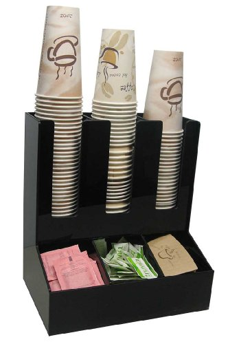 3 Wide Condiment and Coffee Cup and Lid Dispenser Stirrer, Sugar Cup Caddy Organize and Display Your Coffee Counter with Style (6007) (Coffee Stirrers Dispenser compare prices)