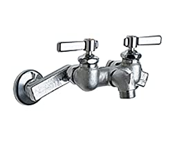Chicago Faucets 305-RCF Wall Mount Service Sink Faucet with Adjustable Centers, Rough Chrome
