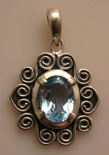Silver Pendent with Blue Stone
