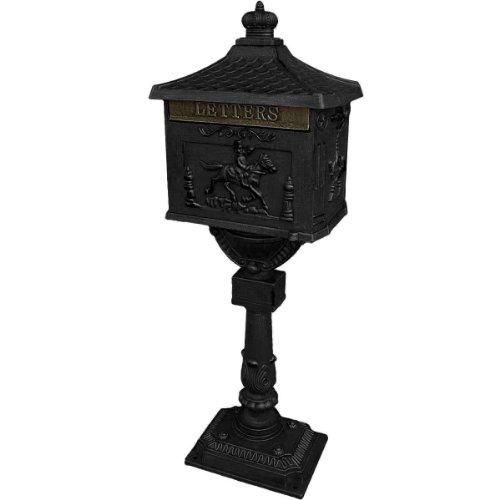 Mailbox Postal Box Security Cast Aluminum Post/Pedestal Heavy Duty Black front-262478