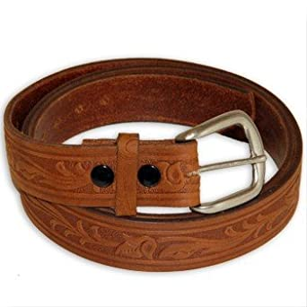 tooled western detailed genuine leather work belt made