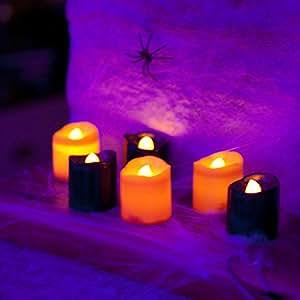 Lot de 6 Mini Bougies LED Halloween Noires et Oranges par Lights4fun