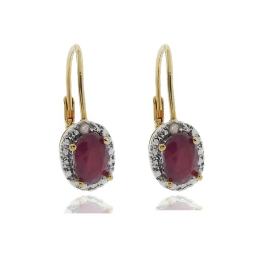 18k Gold Overlay Diamond Accent Ruby July Birthstone Leverback Earrings