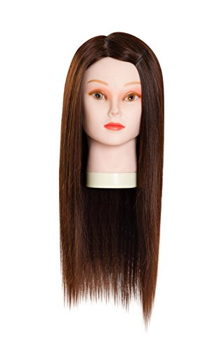 22 Inch Hairdressing 90% Professional Real Hair Female Training Head Cosmetology Mannequin Head W/clamp for College Salon and Professional Hair Cutting Braiding Setting