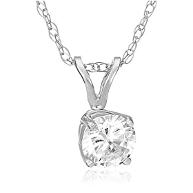 14k White or Yellow Gold Round Diamond Solitaire Pendant (1/2 ct, H-I Color, SI2-I1 Clarity)