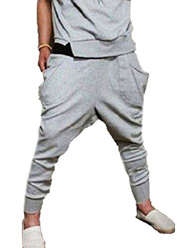 Meihuida Men'S Cotton Sweatpants Hip Hop Baggy Harem Trousers Grey S