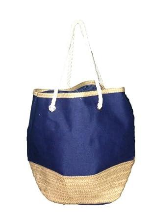 "Big 2 Tone Canvas Beach Tote Bag with Straw Accent Stripe - W19"" D8"" H16"" (Blue)"