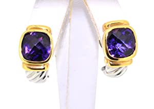 14KTT Gold Amethyst Earrings W/Omega Backs