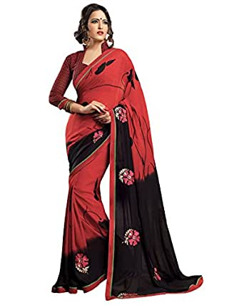Prafful Red Georgette embroidered beautiful saree with unstitched blouse available at Amazon for Rs.999