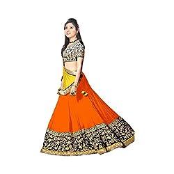 Khazanakart Exclusive Designer Orange Color Georgette Fabric Un-stitched Lehenga Choli With Chiffon Dupatta Material.