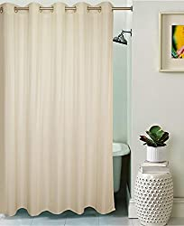 Lushomes Unidyed Cream Polyester Shower Curtain with 10 Eyelets