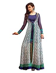 Zohraa Blue And Off White Faux Georgette Anarkali Suit - Z1928P2040-11
